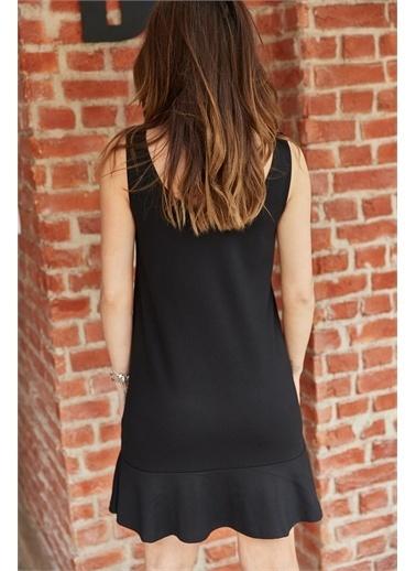 XHAN Eteği Fırfrlı Viskon Elbise 0Yxk6-43375-02 Siyah